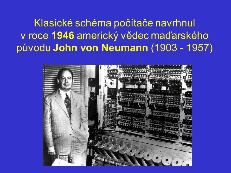 Klasické schéma počítače navrhnul v roce 1946 americký vědec maďarského původu John von Neumann (1903 - 1957)