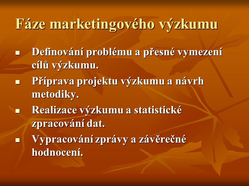 Fáze marketingového výzkumu Definování problému a přesné vymezení cílů výzkumu.