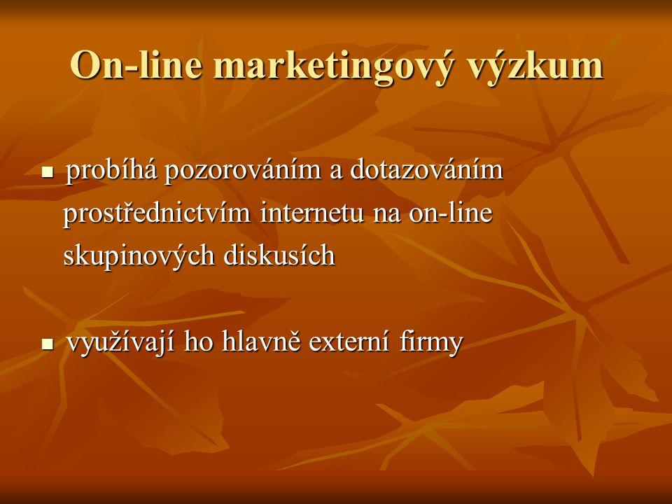 On-line marketingový výzkum probíhá pozorováním a dotazováním probíhá pozorováním a dotazováním prostřednictvím internetu na on-line prostřednictvím internetu na on-line skupinových diskusích skupinových diskusích využívají ho hlavně externí firmy využívají ho hlavně externí firmy