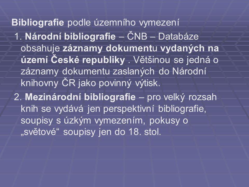 Bibliografie podle územního vymezení 1.