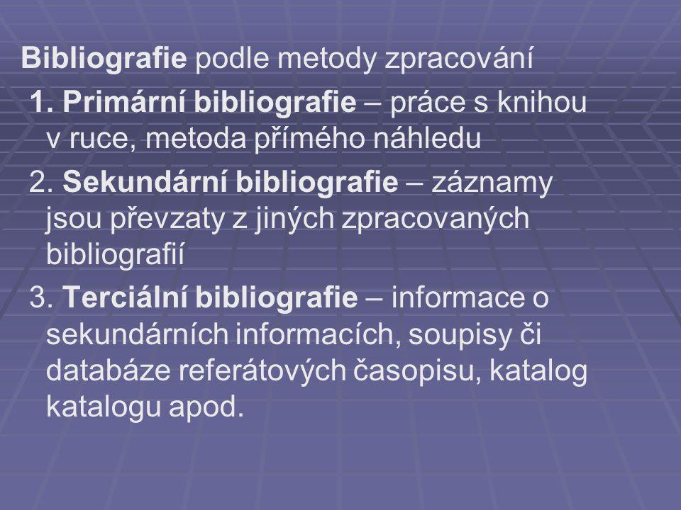 Bibliografie podle metody zpracování 1.