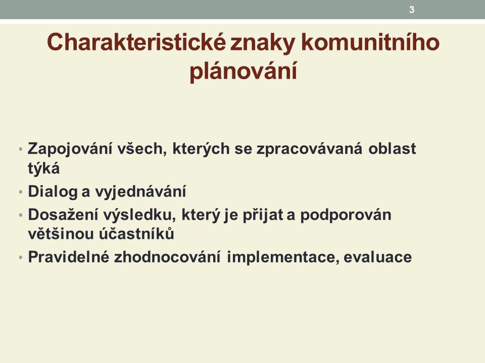 Charakteristické znaky komunitního plánování Zapojování všech, kterých se zpracovávaná oblast týká Dialog a vyjednávání Dosažení výsledku, který je přijat a podporován většinou účastníků Pravidelné zhodnocování implementace, evaluace 3