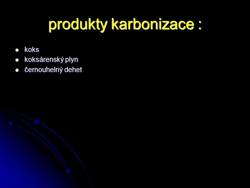 produkty karbonizace : koks koks koksárenský plyn koksárenský plyn černouhelný dehet černouhelný dehet