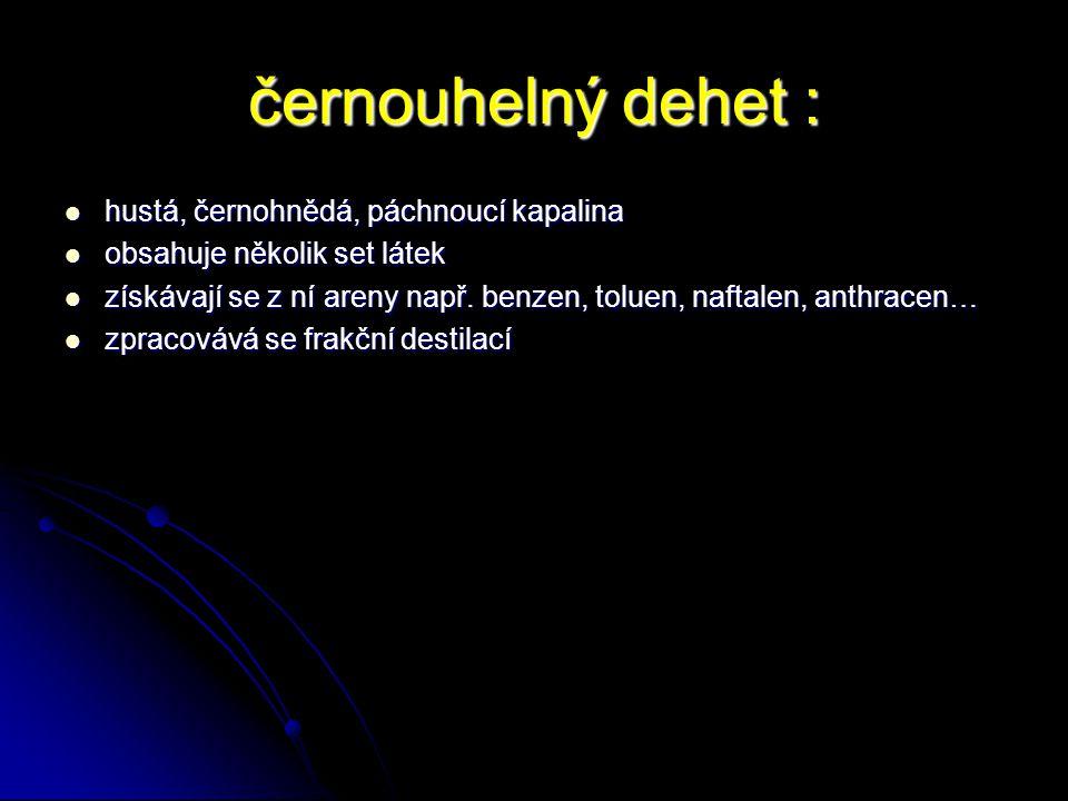 černouhelný dehet : hustá, černohnědá, páchnoucí kapalina hustá, černohnědá, páchnoucí kapalina obsahuje několik set látek obsahuje několik set látek