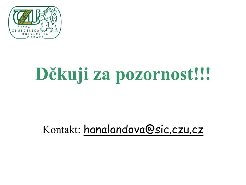 Děkuji za pozornost!!! Kontakt: hanalandova@sic.czu.cz