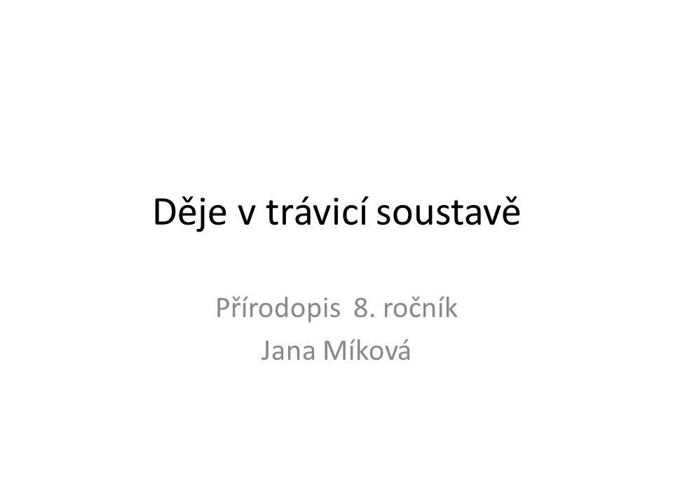 Děje v trávicí soustavě Přírodopis 8. ročník Jana Míková