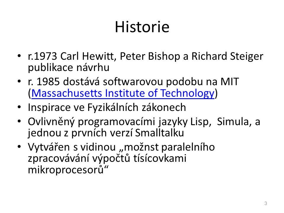 Historie r.1973 Carl Hewitt, Peter Bishop a Richard Steiger publikace návrhu r. 1985 dostává softwarovou podobu na MIT (Massachusetts Institute of Tec