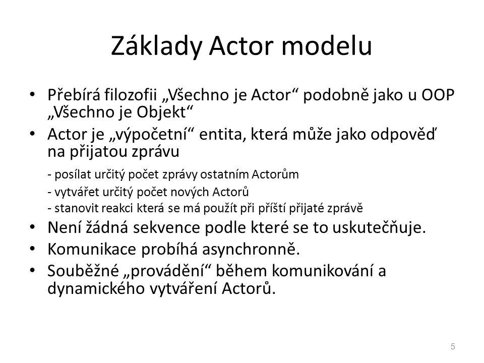 """Základy Actor modelu Přebírá filozofii """"Všechno je Actor"""" podobně jako u OOP """"Všechno je Objekt"""" Actor je """"výpočetní"""" entita, která může jako odpověď"""