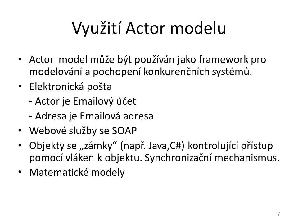 Využití Actor modelu Actor model může být používán jako framework pro modelování a pochopení konkurenčních systémů. Elektronická pošta - Actor je Emai
