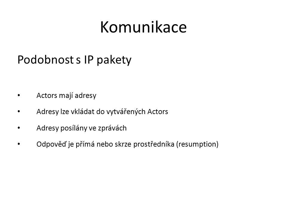 Komunikace Podobnost s IP pakety Actors mají adresy Adresy lze vkládat do vytvářených Actors Adresy posílány ve zprávách Odpověď je přímá nebo skrze p