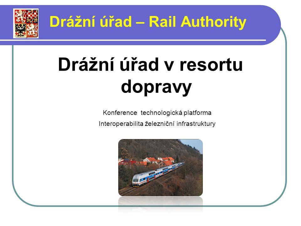 Drážní úřad v resortu dopravy Konference technologická platforma Interoperabilita železniční infrastruktury Drážní úřad – Rail Authority