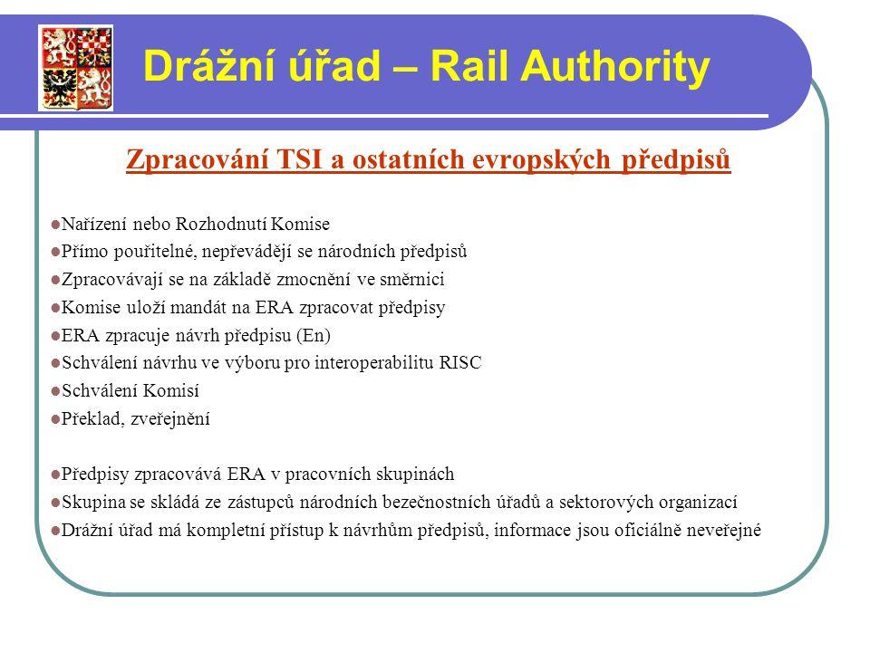 Zpracování TSI a ostatních evropských předpisů Nařízení nebo Rozhodnutí Komise Přímo pouřitelné, nepřevádějí se národních předpisů Zpracovávají se na základě zmocnění ve směrnici Komise uloží mandát na ERA zpracovat předpisy ERA zpracuje návrh předpisu (En) Schválení návrhu ve výboru pro interoperabilitu RISC Schválení Komisí Překlad, zveřejnění Předpisy zpracovává ERA v pracovních skupinách Skupina se skládá ze zástupců národních bezečnostních úřadů a sektorových organizací Drážní úřad má kompletní přístup k návrhům předpisů, informace jsou oficiálně neveřejné Drážní úřad – Rail Authority