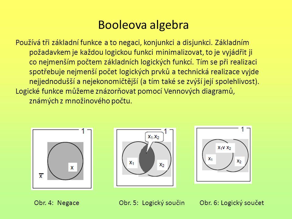Booleova algebra Používá tři základní funkce a to negaci, konjunkci a disjunkci.