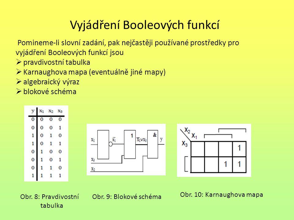 Vyjádření Booleových funkcí Pomineme-li slovní zadání, pak nejčastěji používané prostředky pro vyjádření Booleových funkcí jsou  pravdivostní tabulka  Karnaughova mapa (eventuálně jiné mapy)  algebraický výraz  blokové schéma Obr.