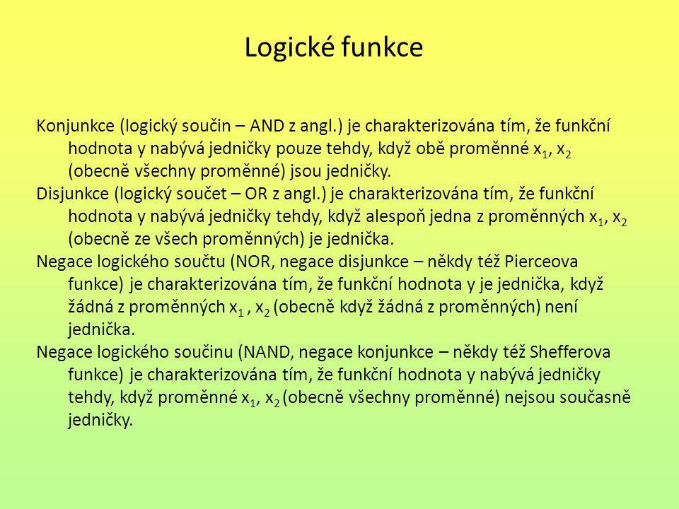 Logické funkce Konjunkce (logický součin – AND z angl.) je charakterizována tím, že funkční hodnota y nabývá jedničky pouze tehdy, když obě proměnné x 1, x 2 (obecně všechny proměnné) jsou jedničky.