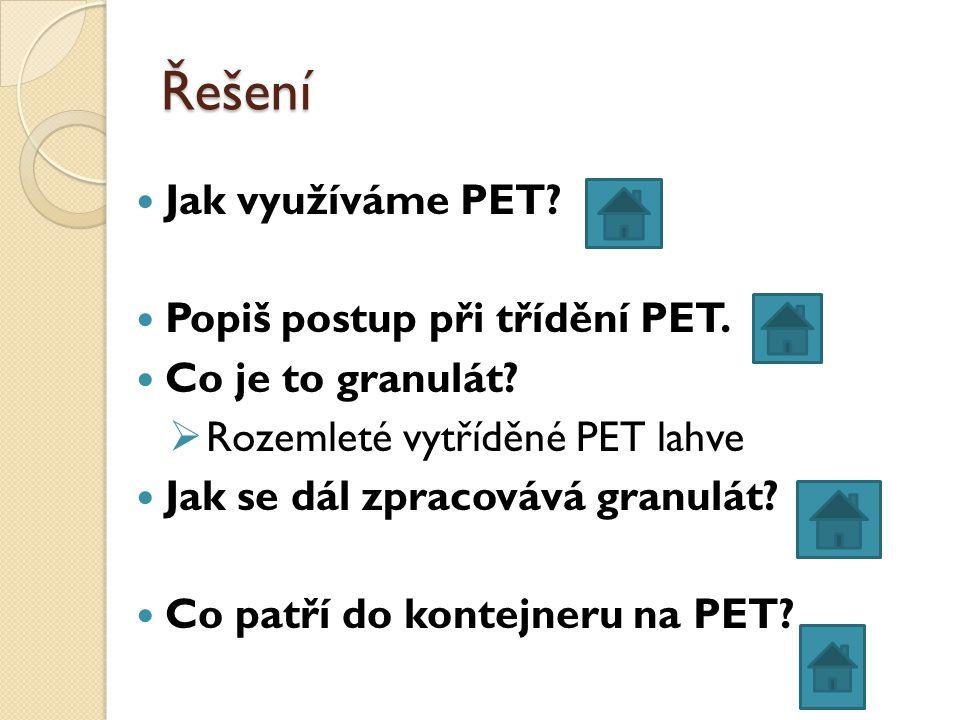 Co patří do kontejneru na PET.Vymysli další možnosti, jak využít PET lahve v domácnosti.