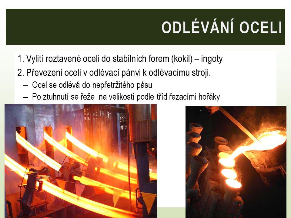 1.Vylití roztavené oceli do stabilních forem (kokil) – ingoty 2.