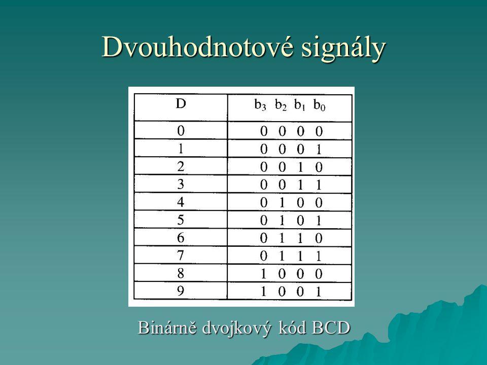 Dvouhodnotové signály Binárně dvojkový kód BCD
