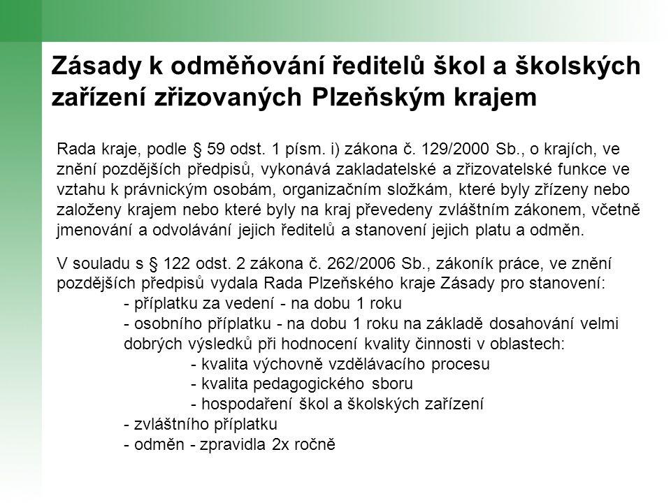 Zásady k odměňování ředitelů škol a školských zařízení zřizovaných Plzeňským krajem Rada kraje, podle § 59 odst.