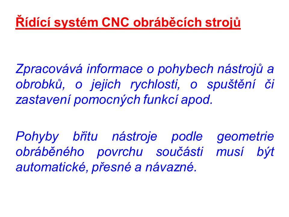 Řídící systém CNC obráběcích strojů Zpracovává informace o pohybech nástrojů a obrobků, o jejich rychlosti, o spuštění či zastavení pomocných funkcí a