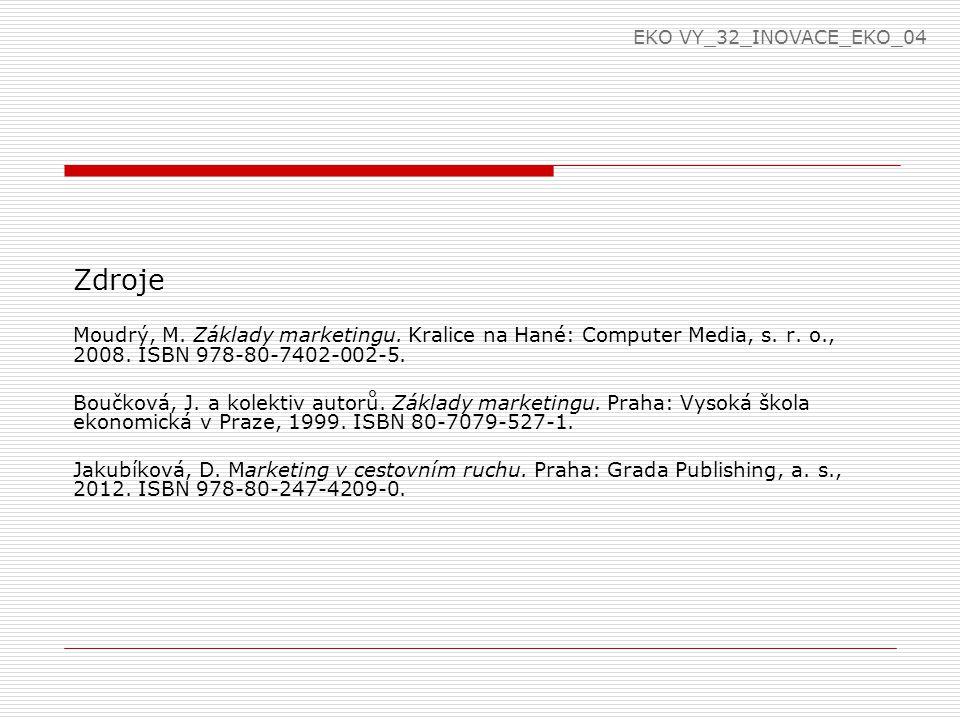 Zdroje Moudrý, M. Základy marketingu. Kralice na Hané: Computer Media, s.