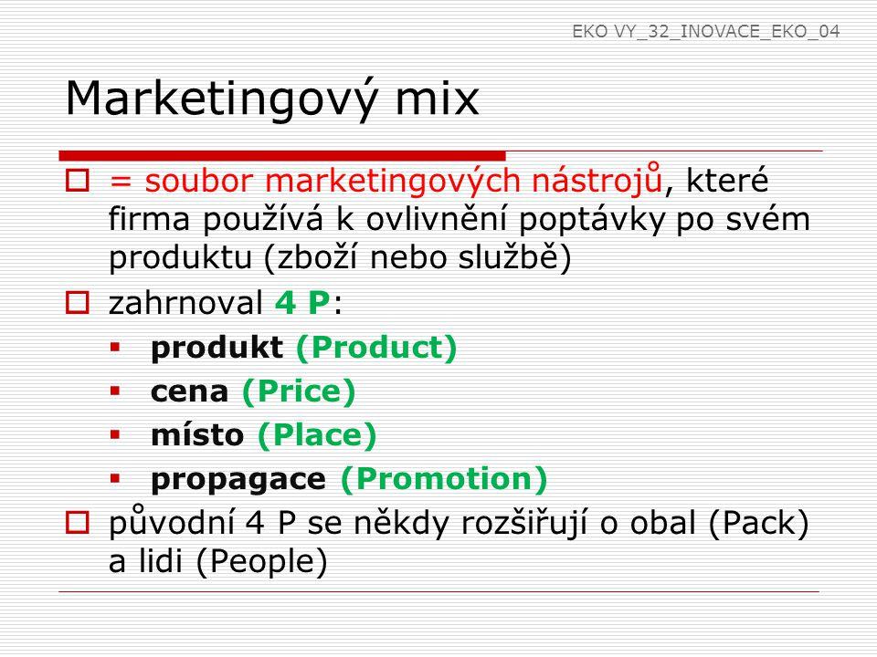 Marketingový mix  = soubor marketingových nástrojů, které firma používá k ovlivnění poptávky po svém produktu (zboží nebo službě)  zahrnoval 4 P:  produkt (Product)  cena (Price)  místo (Place)  propagace (Promotion)  původní 4 P se někdy rozšiřují o obal (Pack) a lidi (People) EKO VY_32_INOVACE_EKO_04