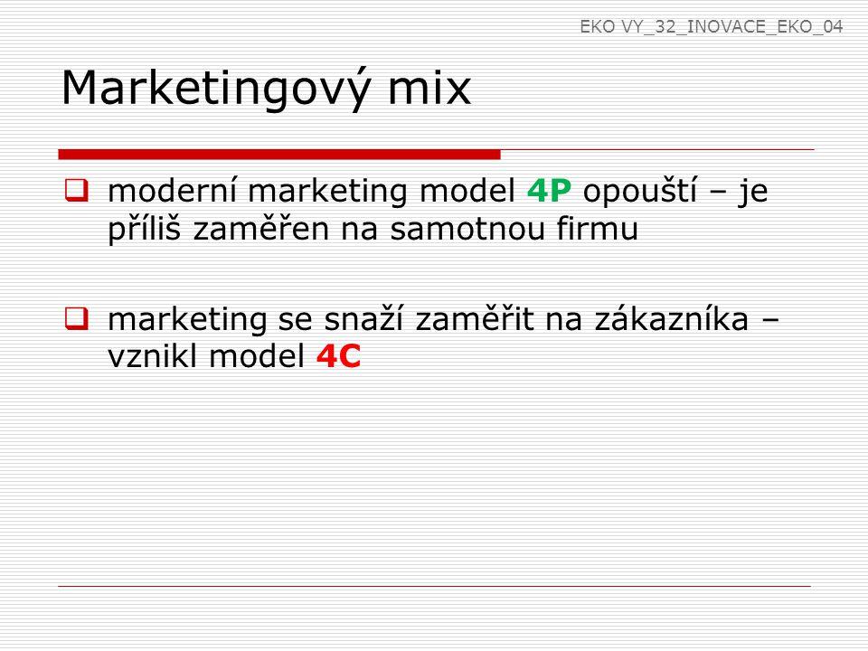 Marketingový mix  moderní marketing model 4P opouští – je příliš zaměřen na samotnou firmu  marketing se snaží zaměřit na zákazníka – vznikl model 4C EKO VY_32_INOVACE_EKO_04