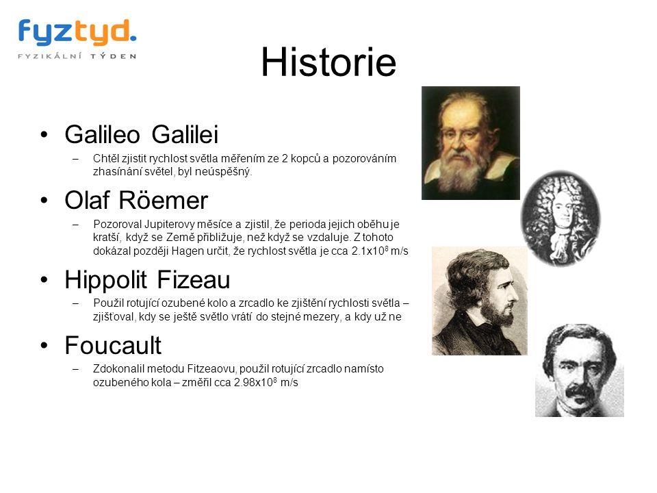 Historie Galileo Galilei –Chtěl zjistit rychlost světla měřením ze 2 kopců a pozorováním zhasínání světel, byl neúspěšný. Olaf Röemer –Pozoroval Jupit