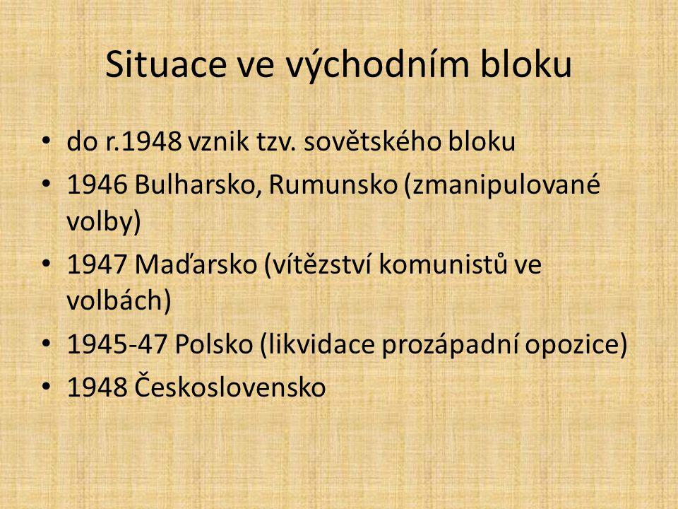 Situace ve východním bloku do r.1948 vznik tzv. sovětského bloku 1946 Bulharsko, Rumunsko (zmanipulované volby) 1947 Maďarsko (vítězství komunistů ve