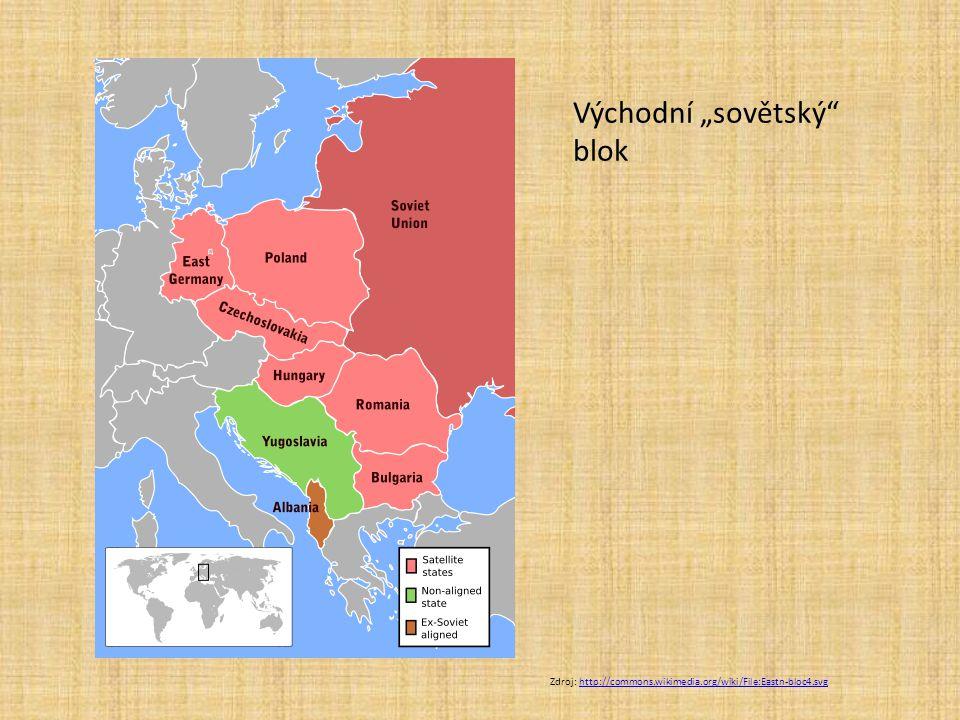 """Zdroj: http://commons.wikimedia.org/wiki/File:Eastn-bloc4.svghttp://commons.wikimedia.org/wiki/File:Eastn-bloc4.svg Východní """"sovětský"""" blok"""