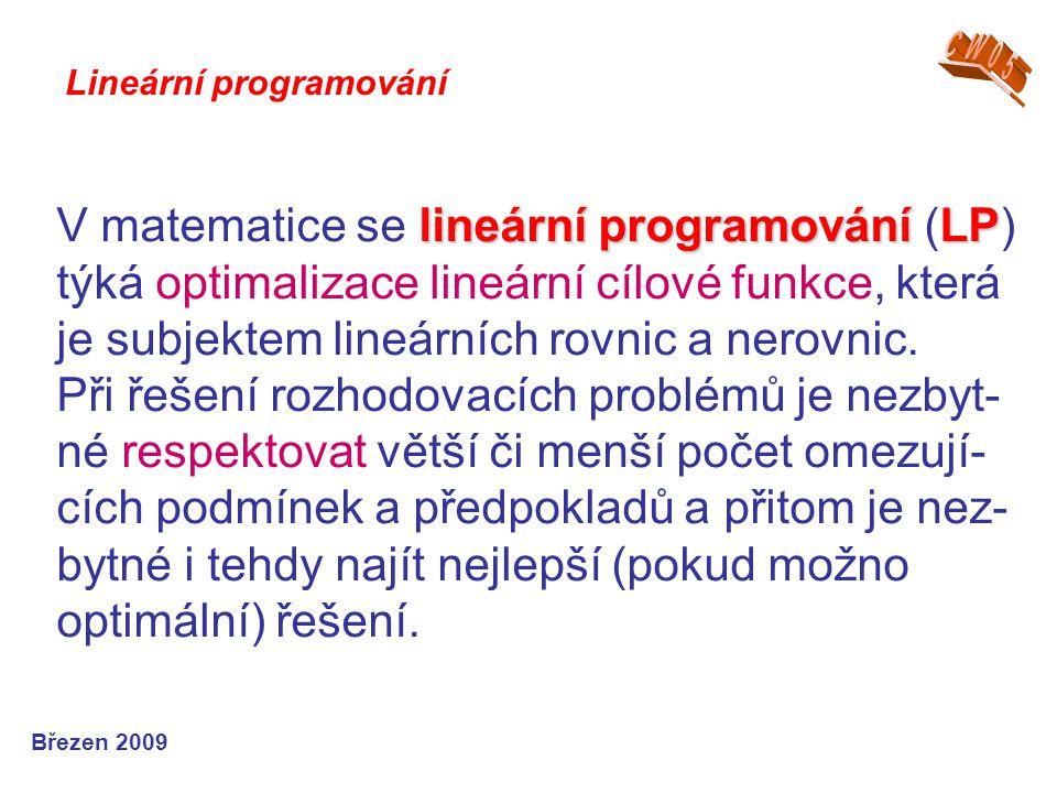 lineární programováníLP V matematice se lineární programování (LP) týká optimalizace lineární cílové funkce, která je subjektem lineárních rovnic a nerovnic.