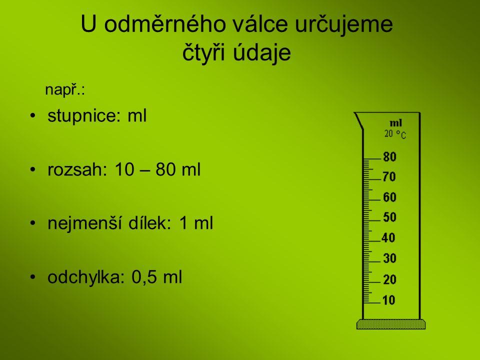 U odměrného válce určujeme čtyři údaje např.: stupnice: ml rozsah: 10 – 80 ml nejmenší dílek: 1 ml odchylka: 0,5 ml