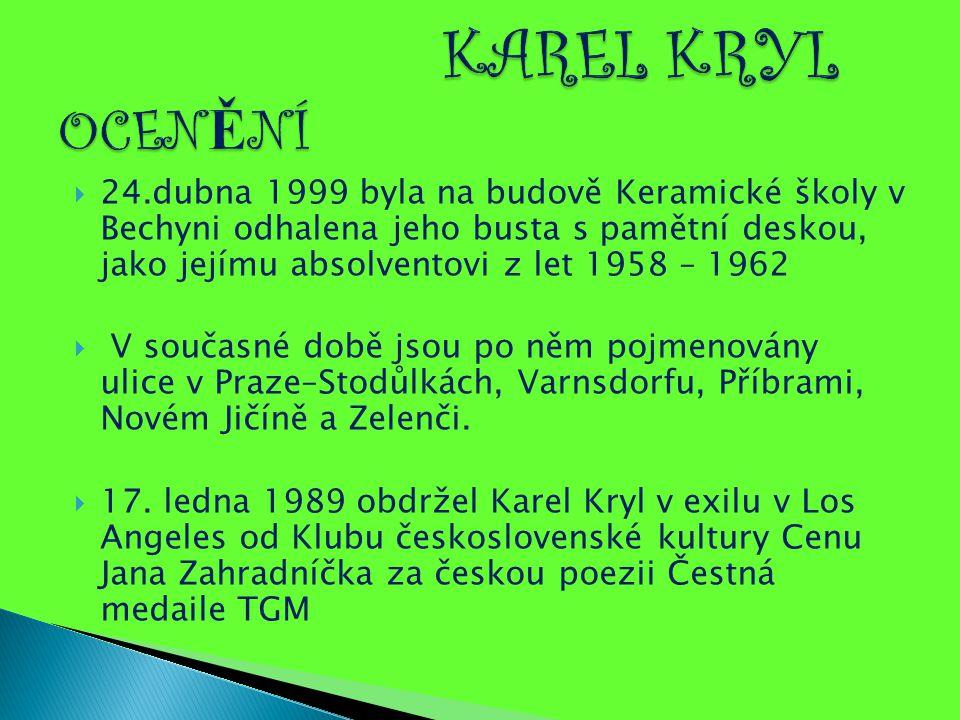  24.dubna 1999 byla na budově Keramické školy v Bechyni odhalena jeho busta s pamětní deskou, jako jejímu absolventovi z let 1958 – 1962  V současné