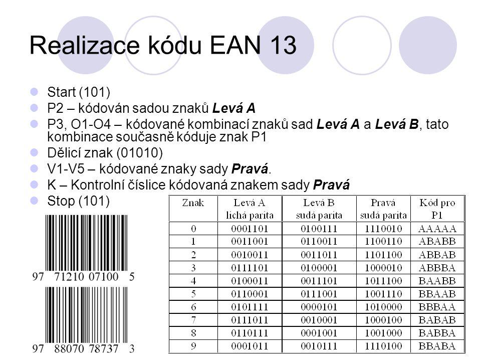Realizace kódu EAN 13 Start (101) P2 – kódován sadou znaků Levá A P3, O1-O4 – kódované kombinací znaků sad Levá A a Levá B, tato kombinace současně kóduje znak P1 Dělicí znak (01010) V1-V5 – kódované znaky sady Pravá.