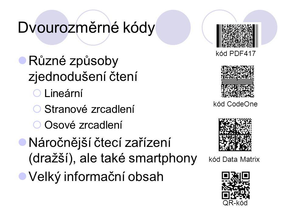 Dvourozměrné kódy Různé způsoby zjednodušení čtení  Lineární  Stranové zrcadlení  Osové zrcadlení Náročnější čtecí zařízení (dražší), ale také smartphony Velký informační obsah kód PDF417 kód Data Matrix kód CodeOne QR-kód