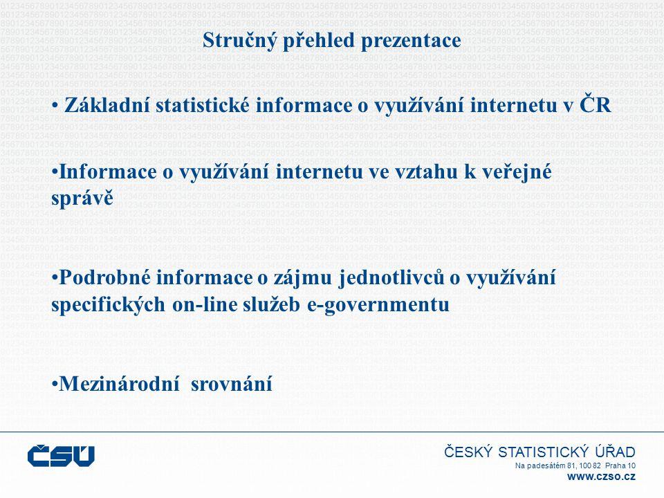 ČESKÝ STATISTICKÝ ÚŘAD Na padesátém 81, 100 82 Praha 10 www.czso.cz Stručný přehled prezentace Základní statistické informace o využívání internetu v