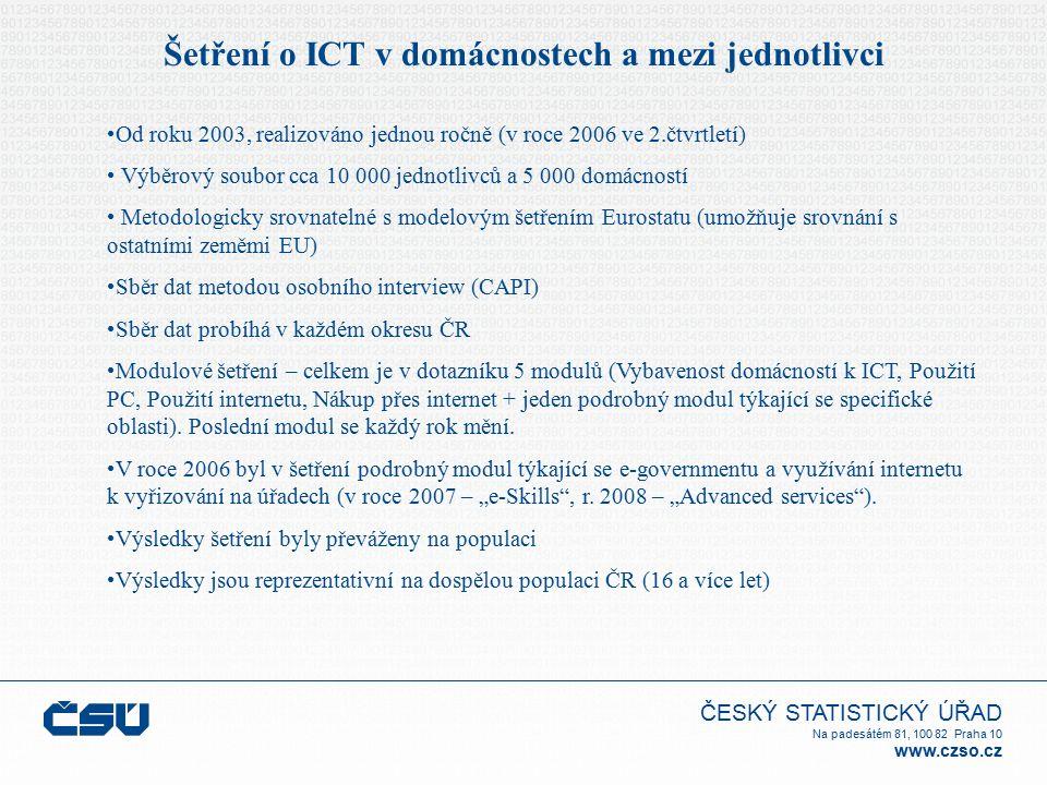 ČESKÝ STATISTICKÝ ÚŘAD Na padesátém 81, 100 82 Praha 10 www.czso.cz Šetření o ICT v domácnostech a mezi jednotlivci Od roku 2003, realizováno jednou r