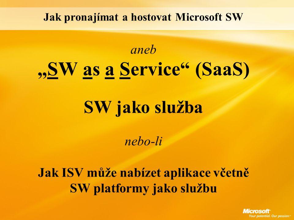 """Jak pronajímat a hostovat Microsoft SW aneb """"SW as a Service"""" (SaaS) SW jako služba nebo-li Jak ISV může nabízet aplikace včetně SW platformy jako slu"""