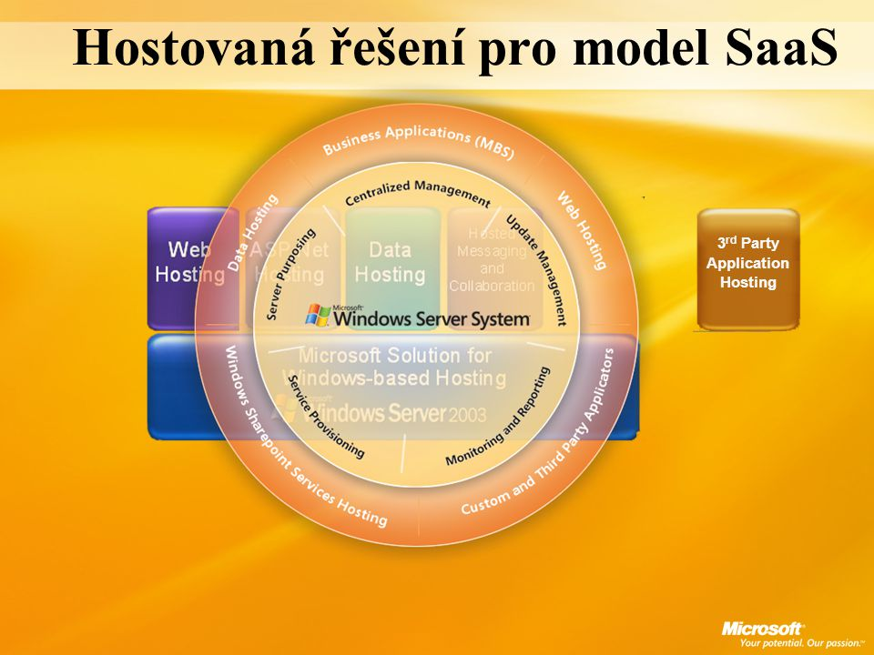 Hostovaná řešení pro model SaaS 3 rd Party Application Hosting