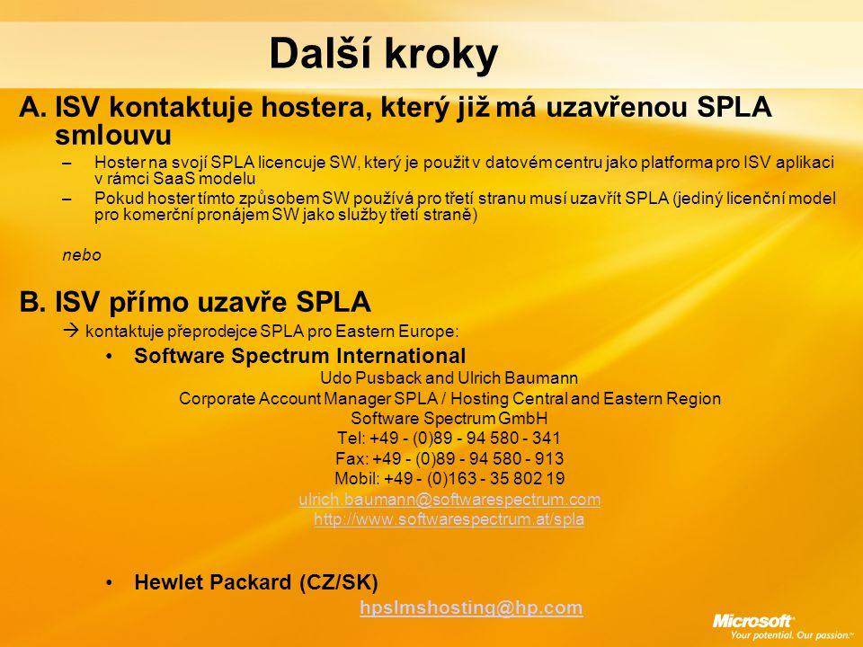 Další kroky A.ISV kontaktuje hostera, který již má uzavřenou SPLA smlouvu –Hoster na svojí SPLA licencuje SW, který je použit v datovém centru jako pl