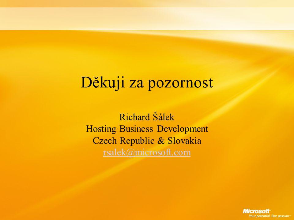 Děkuji za pozornost Richard Šálek Hosting Business Development Czech Republic & Slovakia rsalek@microsoft.com rsalek@microsoft.com