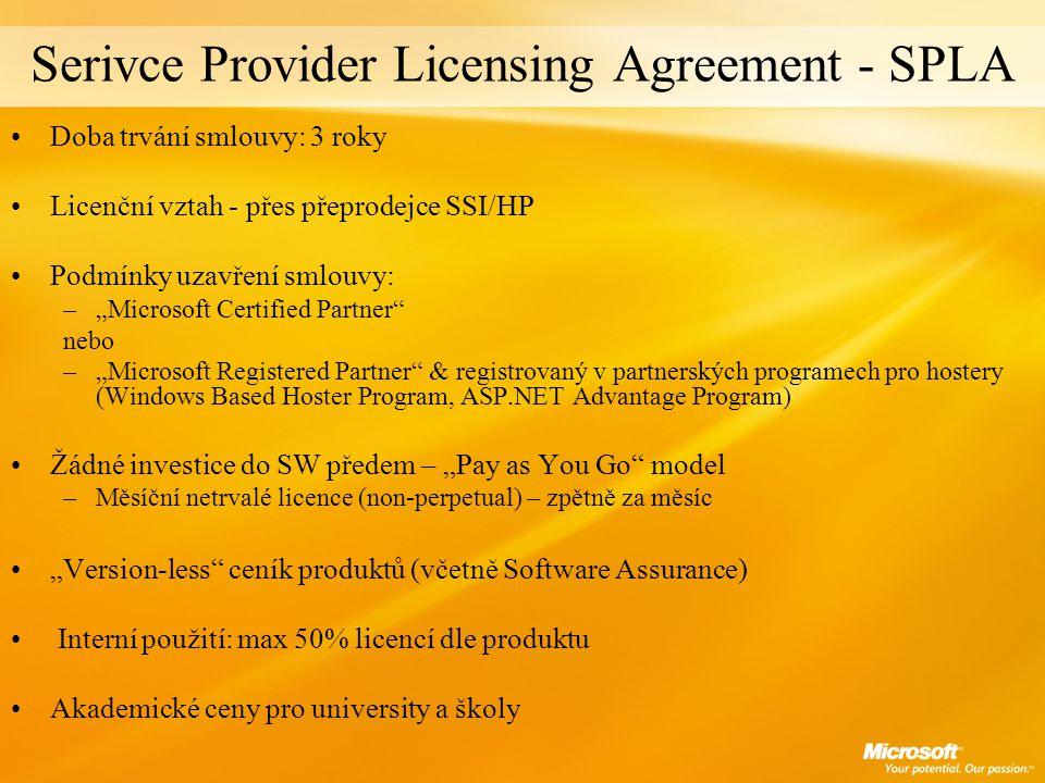 """Serivce Provider Licensing Agreement - SPLA Doba trvání smlouvy: 3 roky Licenční vztah - přes přeprodejce SSI/HP Podmínky uzavření smlouvy: –""""Microsof"""