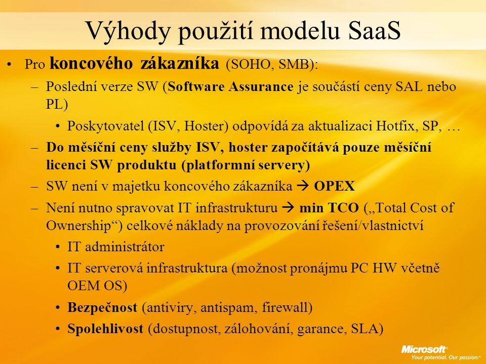 Výhody použití modelu SaaS Pro koncového zákazníka (SOHO, SMB): –Poslední verze SW (Software Assurance je součástí ceny SAL nebo PL) Poskytovatel (ISV