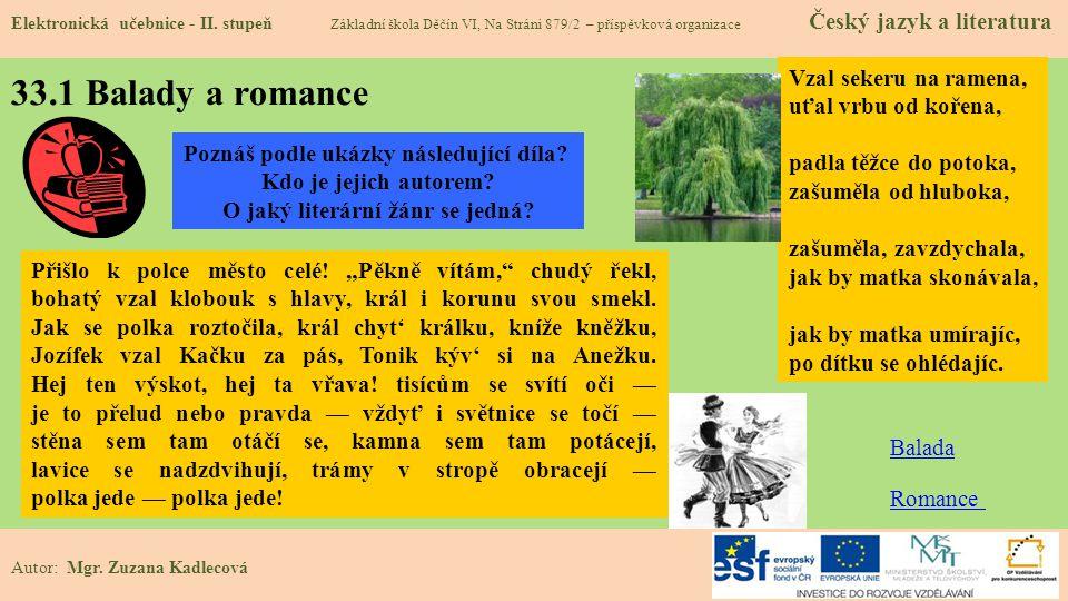 33.1 Balady a romance Elektronická učebnice - II.
