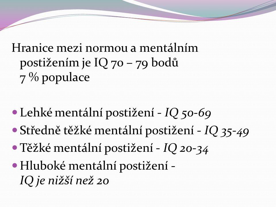 Hranice mezi normou a mentálním postižením je IQ 70 – 79 bodů 7 % populace Lehké mentální postižení - IQ 50-69 Středně těžké mentální postižení - IQ 35-49 Těžké mentální postižení - IQ 20-34 Hluboké mentální postižení - IQ je nižší než 20