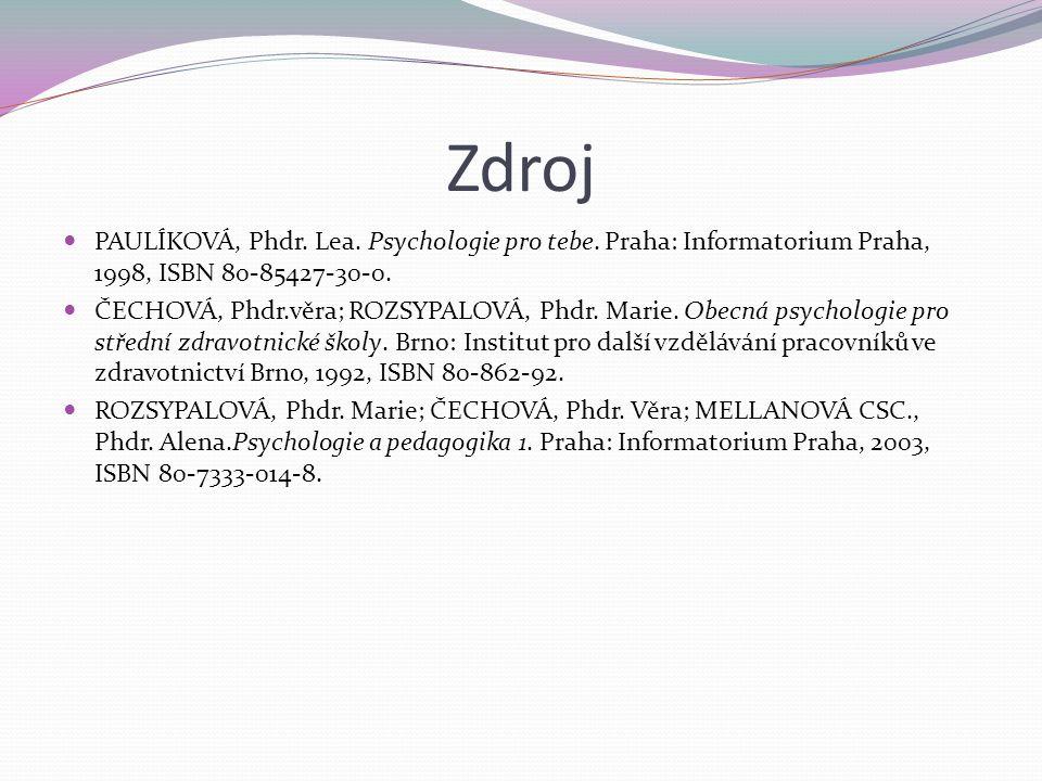 Zdroj PAULÍKOVÁ, Phdr. Lea. Psychologie pro tebe.