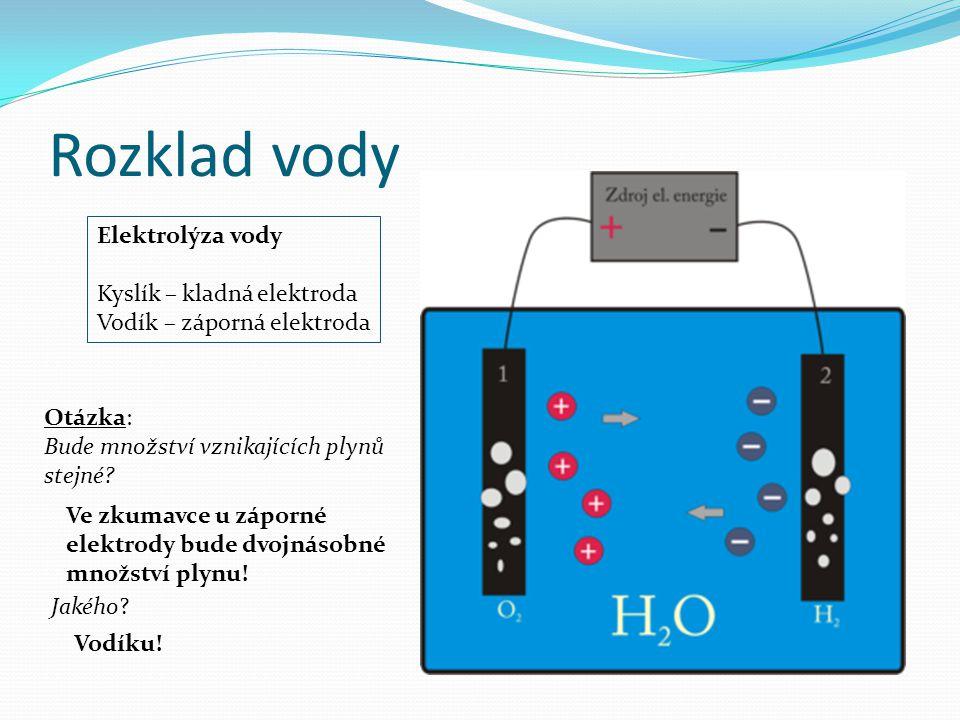 Rozklad vody Elektrolýza vody Kyslík – kladná elektroda Vodík – záporná elektroda Otázka: Bude množství vznikajících plynů stejné? Ve zkumavce u zápor