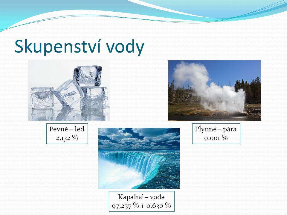 Skupenství vody Pevné – led 2,132 % Plynné – pára 0,001 % Kapalné – voda 97,237 % + 0,630 %