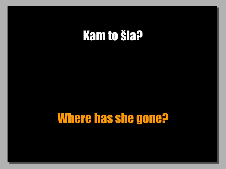 Kam to šla Where has she gone