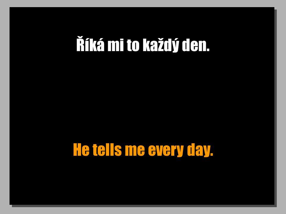 Říká mi to každý den. He tells me every day.